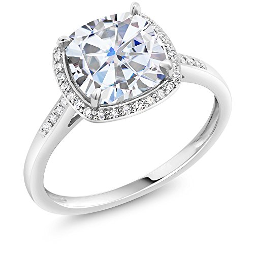 Charles & Colvard Forever One G-H-I 2.40 ct DEW (8mm) Cushion Created Moissanite Diamond Accent Halo Engagement Ring in 10K White Gold (Size 7)