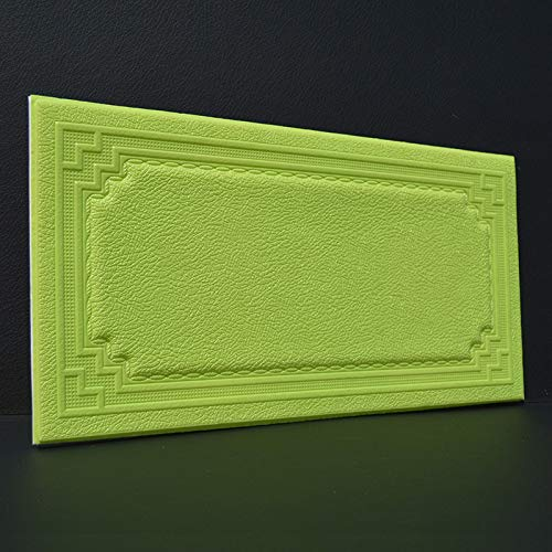 2PCS Tatami Anti-Kollisions-Softbag Wandaufkleber selbstklebende 3d Stereo dicke Anti-Kollisions-Tapete Leder Muster Tapete TV Hintergrundwand Apfelgrün 59.3 * 30CM