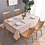 maxmill Jacquard Poly-Cotton Tablecloth Geometric Pattern SpillProof, Water Resistant Wide Hem Heavy Weight Soft Table Cloth for Kitchen Dining Tabletop Decoration Rectangle, Blush, 52x70 Inch