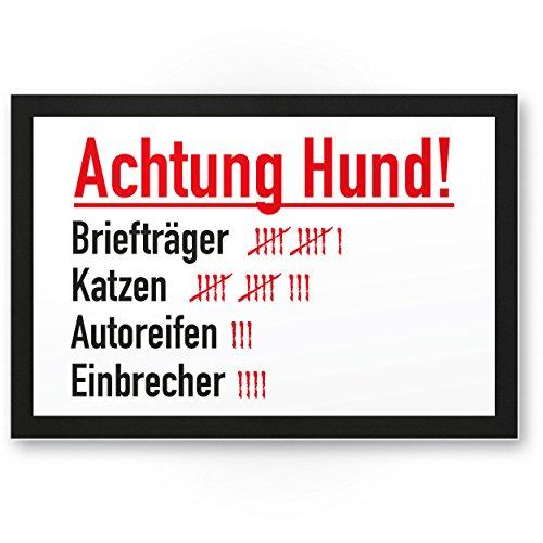 Achtung Hund Strichliste Lustig (weiß) - Hunde Kunststoff Schild, Hinweisschild Gartentor/Gartenzaun - Türschild Haustüre, Warnschild Abschreckung/Einbruchschutz