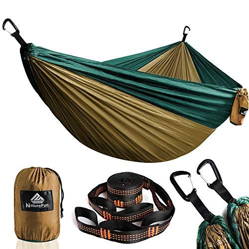 NatureFun Hamaca ultraligera para camping| 300kg de capacidad de carga, (300 x 200 cm) Estilo paracaídas de Nylon, transpirable y de secado rápido. 2 mosquetones premium, 2 eslingas de nylon incluidas