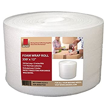 UBOXES Foam Wrap Roll 320  x 12  Wide 1/16 Thick Cushion - 12  Perforation