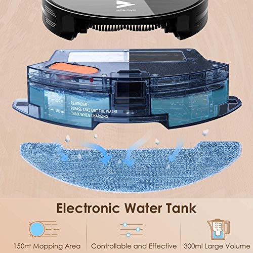 Hosome Saugroboter WLAN 2000Pa Upgrade Staubsauger Roboter mit Wischfunktion, App & Alexa Steuerung, Selbstaufladung, 300ML elektrischer Wassertank, für Tierhaare, Teppiche, Hartböden - 4