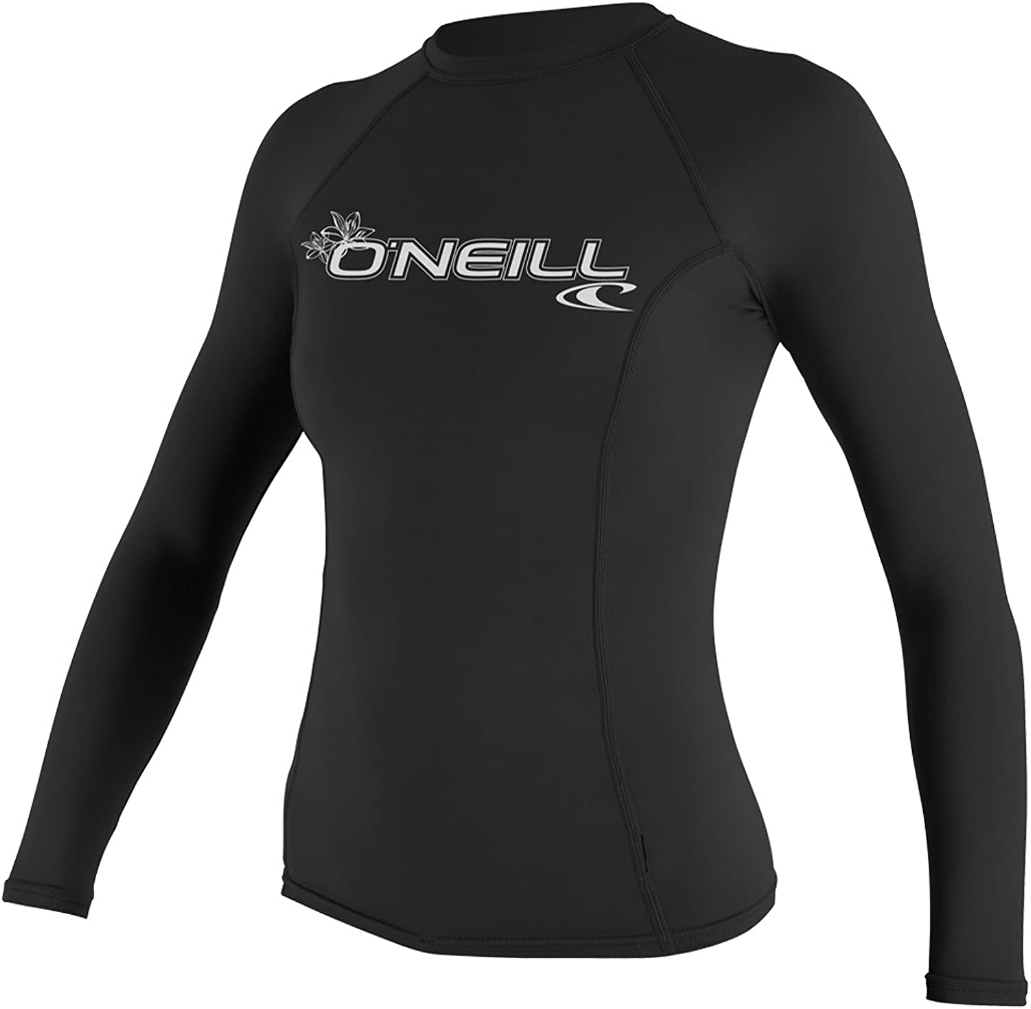 O'Neill Womens Basic Skins Long Sleeve Crew Quick Dry Lightweight Rash Vest Black
