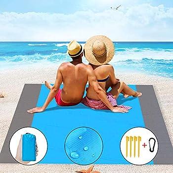 IvyLife Tapis de Plage Serviette de Plage Anti-Sable, Couverture de Plage en Plein air Randonnée Camping Pique-Nique 200 X 210cm Imperméable Léger Portable Sable Gratuit (Bleu)