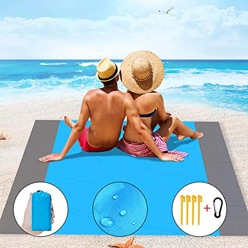 IvyLife Coperta Da Spiaggia Picnic Portatile Impermeabile 210 X 200 Cm Telo Tappeto Da Spiaggia Montagna Campeggio All'Aperto Escursionismo Viaggi Giardino Con Reticule 4 Picchetti Anti Sabbia (Blu)