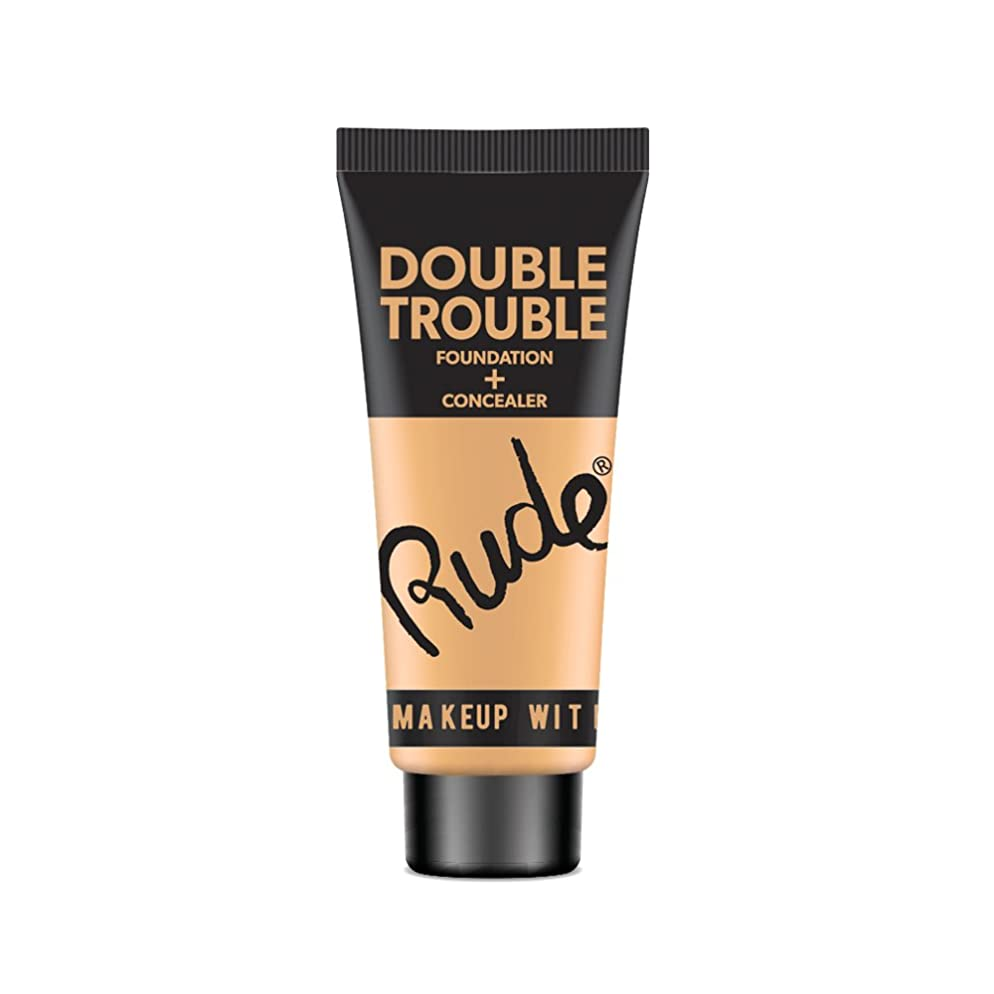 大破寝室を掃除する植木(6 Pack) RUDE Double Trouble Foundation + Concealer - Ivory (並行輸入品)