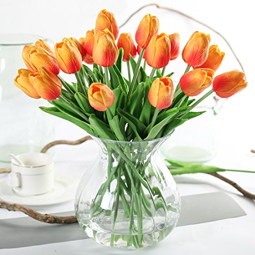 JUSTOYOU 10 STK PU Real Touch Latex Künstliche Tulpen Gefälschte Tulpen Blumen Blumensträuße Blumen Arrangement für Home Room Hochzeitsstrauß Party Herzstück Dekor Orange