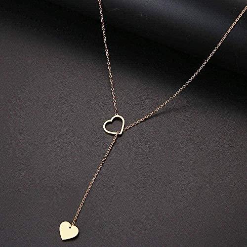 Yiffshunl Collar, Collar, Collar, Mujer, Largo, en Forma de corazón, Colgante, Collar, Colgante, diseño Simple, Collar, joyería, Regalo de Fiesta, Collar de Oro, Regalo
