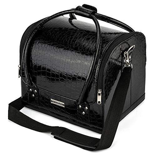 Amasava Makeup Case, Leather Makeup Box with Shoulder Strap, Professional Beauty Cosmetic Organiser Travel Vanity Case for Makeup, Jewelry, Toiletry, and Nail Polish