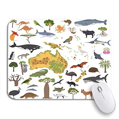 GamIng Mauspad Australien und Ozeanien Flora Fauna Karte Flache Tiere Vögel Rutschfeste Gummiunterlage Computer Mousepad für Notebooks Mauspads