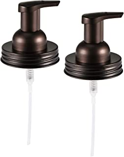 Mason Jar Soap Dispenser Lid - Premium 304 Stainless Steel Mason Jar Lids and Foaming Hand Soap Dispenser Pump Replacement for Ball Pint Mason Jars or Any Regular Mouth Mason Jar Decor - Bronze,2 Pack