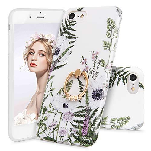 iPhone SE(2020) ケース Imikoko iphone 7/8 ケース リング スタンド 花柄 かわいい シリコン ソフト レディース 薄型 純正 ストラップホール付き (アイフォン7/8/SE レンゲソウ)