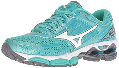Mizuno Women's Wave Creation 19 Running Shoe, Turquoise/Peacock Blue, 6