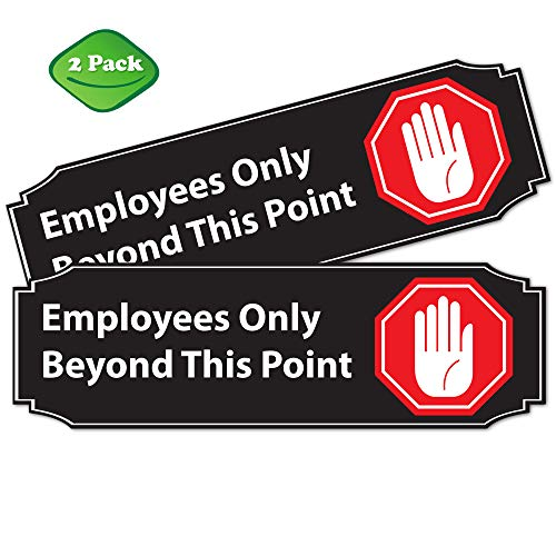 """Stylish Employees Only Beyond this Point Office Store Sign   2 Pack (9"""" x 3"""") RED PVC Combo  • Great for For Restaurants, Salons, Hotels and Motels, Gas Stations, Rest Stops • Posted Sign • 3M Tape on"""