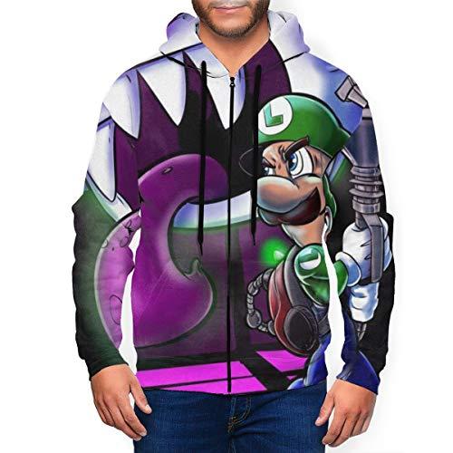 Luigi's Mansion - Sudadera con capucha para hombre con cremallera y bolsillo