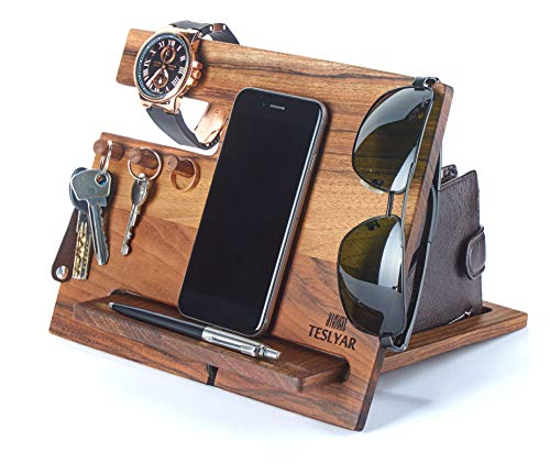 TESLYAR Natural Walnut Wood Phone Docking Station
