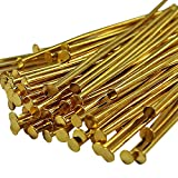 Choupee Head Pins 288 Pieces Flat Headpins for Jewelry Making, Gold Plated, Metal Jewelery Making Finding (Gold)