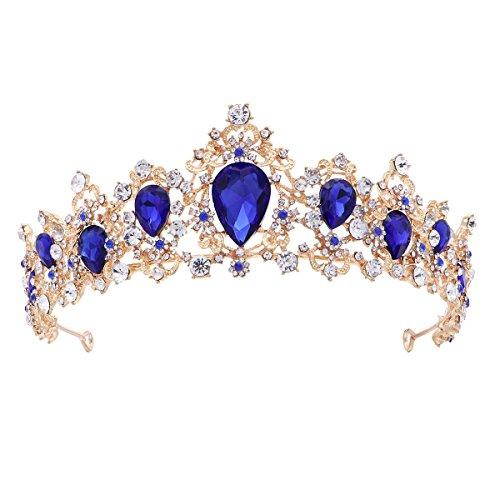 Frcolor Diadem Hochzeit Krone Tiara Braut Strass Haarreifen Rhinestone Haar Tiara für Hochzeit Braut Haarschmuck (blau)
