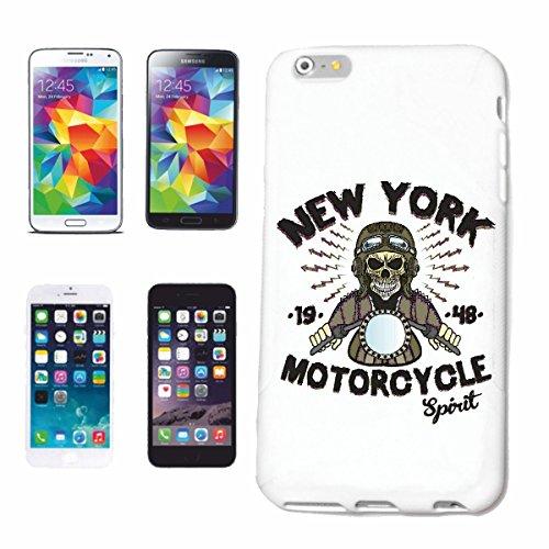 Helene telefoonhoes compatibel met Samsung Galaxy S7 Edge New York Motocycle Spirit BIKERSHIRT motorfiets chopper gothic motorfiets skull motorfiets fiets route