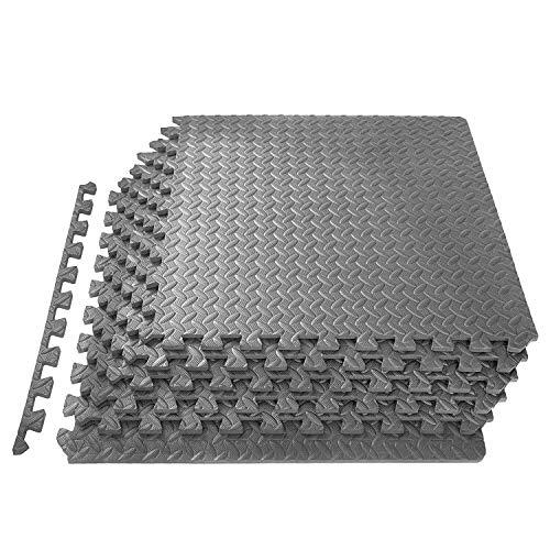 Tappetino da palestra con protezione per pavimenti, 16 pezzi/64 m², in schiuma EVA da 60 x 60 cm, spessore 1 cm, per esercizi, fitness, esterno e garage (grigio)