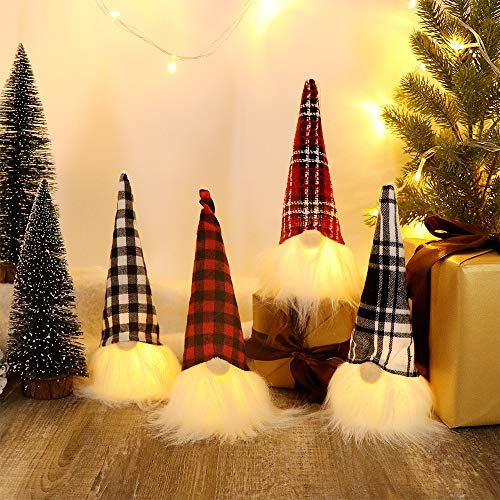 HAUMENLY Swedish Christmas Gnome Lights, Scandinavian Tomte Home Party Decoration - 9x3.5 Inches,Pack of 4