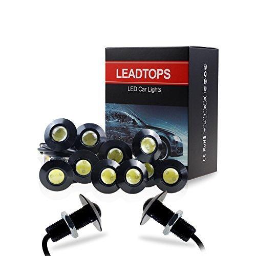 LEADTOPS Eagle Eye LED Lights, 10-pack DIY 12V Ultra thin 23mm Eagle Eye Bulb Fog Tail DRL Daytime Running Lights White Kit for Car Motorcycle (White, Black)