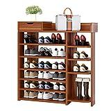 MYBA Zapatero de madera con 5 niveles y un cajón, estante de almacenamiento de zapatos, estantes planos de pie, estilo clásico (color: marrón)