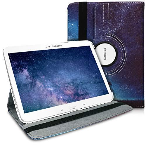 Original kwmobile Tasche für Samsung Galaxy Tab 3 10.1 P5200 / P5210 360° Klappetui mit Standfunktion & Gummiband aus Kunstleder Blau Grau Schwarz