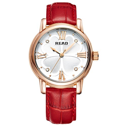 Ruanyi Roman Number Scale Four Leaf Clover Dial Design Quartz Women Watch with Genuine Leather Band (Color : Red)