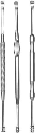Anself 3pcs Stainless Steel Ear Pick Double-ended Earpick Ear Wax Curette Remover Ear Cleaner Spoon