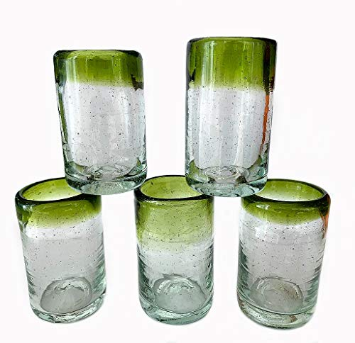 Mexican Artisan Crafted Hand Blown Clear Green Rim Recycled Glass Shot Glasses, 2.9 oz. Great for tequila and Mezcal