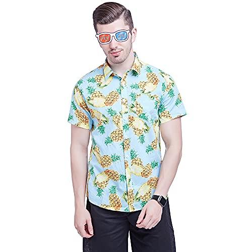 Hawaiana Camisa Hombre Moderna Tendencia Moda Labios Estampado Hombre Henley Camisa Verano Básico Cárdigan Hombre Manga Corta Casual Vacaciones Transpirable Hombre Shirt GD025-9 S