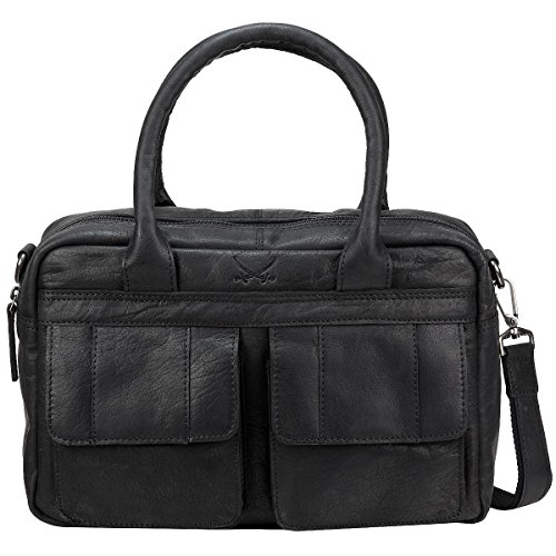 Sansibar Levante Leder Handtasche Schultertasche Bowlingbag B-738-LT, Farbe:Black