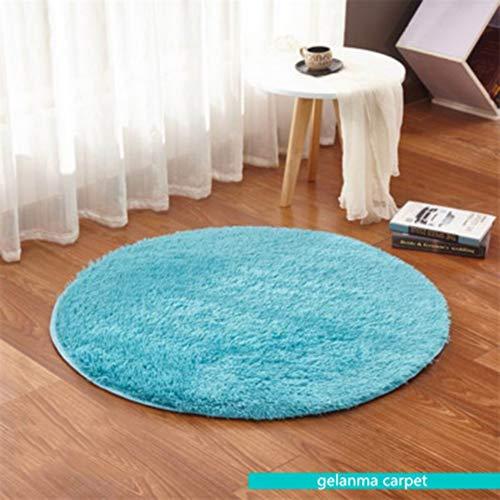ZHOUAICHENG Runder Teppich Schlafzimmer Wohnzimmer Hängekorb Computer Stuhl Schaukelstuhl Fußpolster Yogamatte Nachttisch Großer Teppich Badezimmer Bodenschutzmatte,Blau,80cm