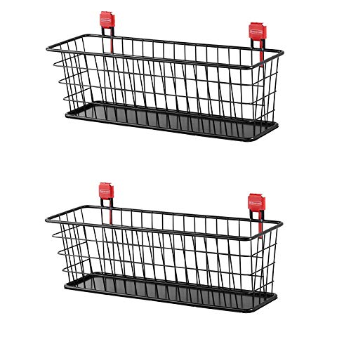 Rubbermaid Wall Mounted Storage Shed Small Wire Basket Tool Organizer (2 Pack)