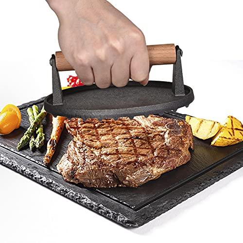 Nedyet Pressa per barbecue – Pesca carne e pressa per hamburger in ghisa smaltata (pressa per carne in ghisa)