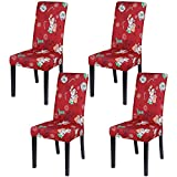 SearchI Dining Room Chair Covers Set of 4, Stretch Jacquard Parsons Chair Slipcovers Super Fit Removable Washable Kitchen Chair Protector Cover for Dining Room, Hotel, Ceremony