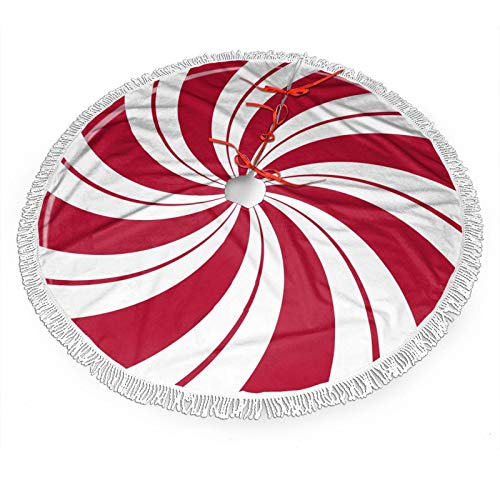 FREEHOTU Mint Sugar Double Swirl Candy Christmas Tree Skirt Gorgeous Edge Tassel Lace for 30' Xmas Ornaments Decoration