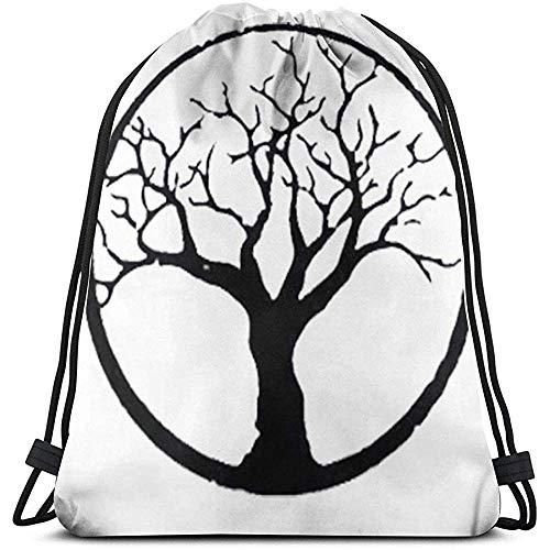 MOTALIN Backpack,Drawstring Bolso,Bolsas De Cuerdas Gimnasio,Mochila con Cordón,Bonsai Tree In Enso Circle Sport Mochila De Viaje,Bolso Ligero,Cinch para Mujer/Hombre