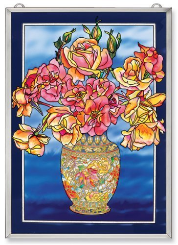 Amia Window D?or Panel Features Roses in a Cloisonne Vase, 11-Inches Width by 15.5-Inches Length, Handpainted Glass by Amia