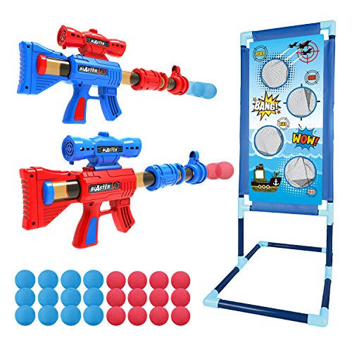 YEEBAY Shooting Game Toy for Age 5, 6, 7, 8,9,10+ Years Old Kids, Boys - 2pk Foam Ball Popper Air Guns & Shooting Target & 24 Foam Balls - Ideal Gift - Compatible with Nerf Toy Guns