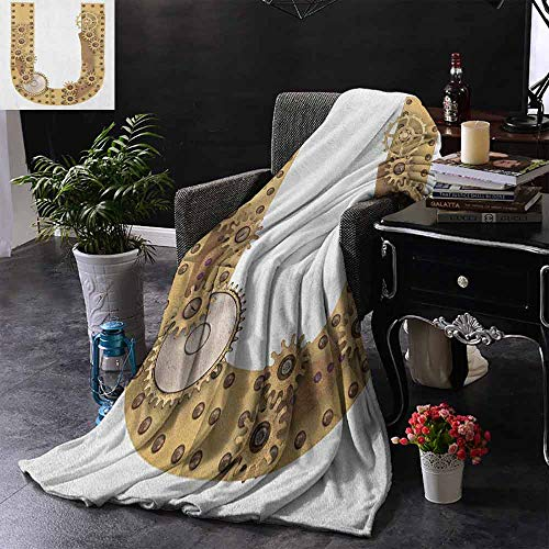 ZSUO bank deken gekapitaliseerd U met bos kleur regeling planten Wildflower vlinders ontwerp extra gezellig, machine wasbaar, comfortabel huisdecoratie