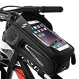MoBearer Bolsa para Cuadro de Bicicleta Impermeable con Soporte para teléfono,con Visera de Pantalla táctil,Adecuada para teléfonos Inteligentes de Menos de 6,8pulgadas