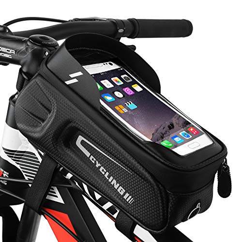 MoBearer Borsa Telaio Bici Impermeabile con Porta Cellulare Bici Accessori Bici cletta con Visiera Parasole Touchscreen e Ampio Spazio per Borse Bici Adatta per Smartphone sotto i 6,8 Pollici
