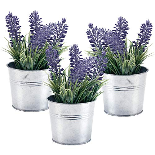 6-inch Artificial Lavender Plant Decor, Faux Flowers with Metal Planter Pot, Set of 3