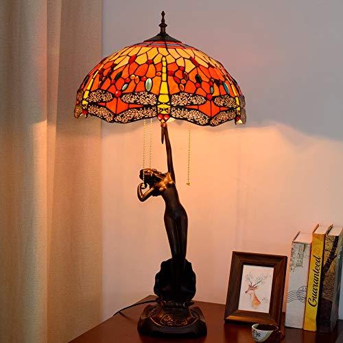 SWNN Estilo Tiffany Red Lámpara De Escritorio del Vidrio Manchado Sala Comedor Dormitorio Arte Americano De La Libélula Regalo Mesa De Luz 40 * 76cm