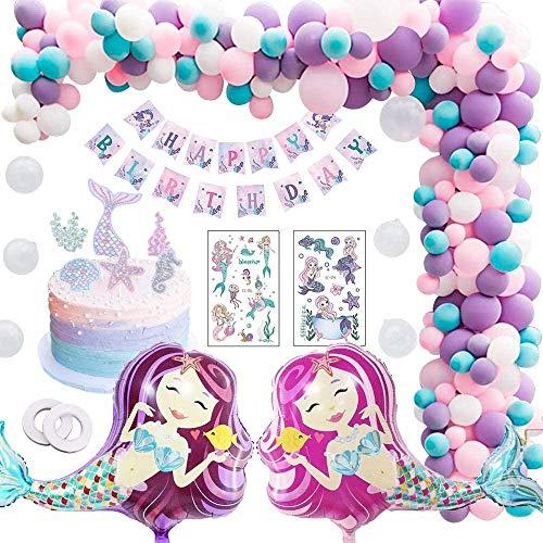 smilecstar Sirena decoración de cumpleaños niña Sirena Fiesta de cumpleaños decoración niña Feliz cumpleaños Banner Globo mar Tema Bautismo señoras Fiesta de cumpleaños
