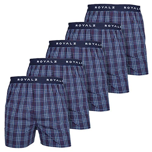 ROYALZ 5er Pack Boxershorts American Style für Herren Männer Unterhosen Kariert Blau klassisch 5 Set Jungen Unterwäsche weit, Farbe:Navy Blau Kariert, Größe:M