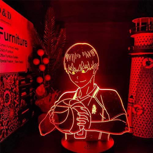 Lámpara de escritorio 3D ilusión Haikyuu Kageyama tobio luz de noche para habitación de los niños decoración del hogar regalos de cumpleaños de Navidad con 16 colores cambiantes